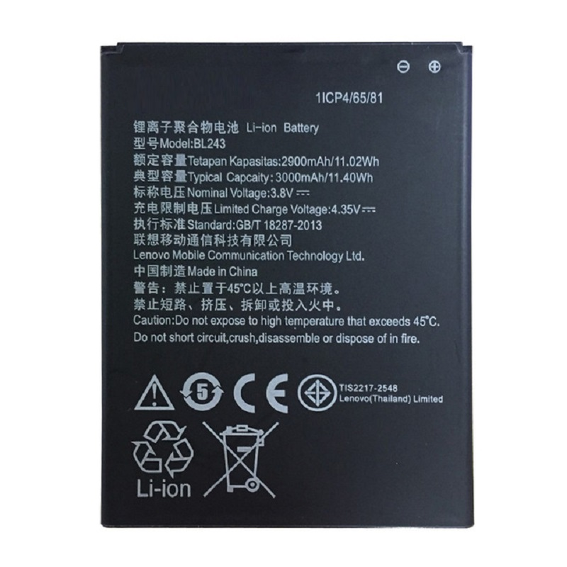 New arrived 2900mAh BL243 Mobile Phone Battery Use for lenovo K3 Note K50-T5 A7000 A5500 A5600 A7600 image