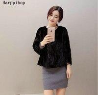 2018 New style women's fur coat, Black short sleeve fashion fur vest, winter fur vests fur,Slim short mink coat