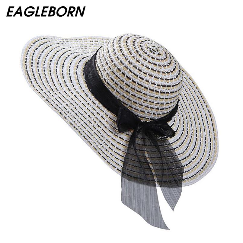 Chapéu de palha das mulheres de verão grande aba larga praia chapéu ... c82a8967fd9