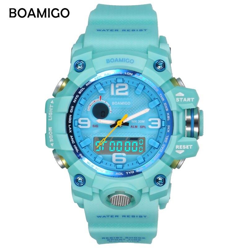BOAMIGO marke frauen uhren dual display sportuhren fashion damen LED uhren blau 30 mt wasserdicht uhr