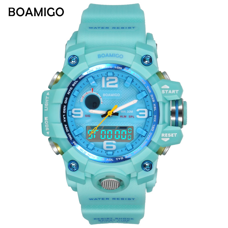 BOAMIGO Brand Women Watches Dual Display Sports Watches Fashion Ladies LED Digital Wrist Watches Blue 30m Water Resistant Clock