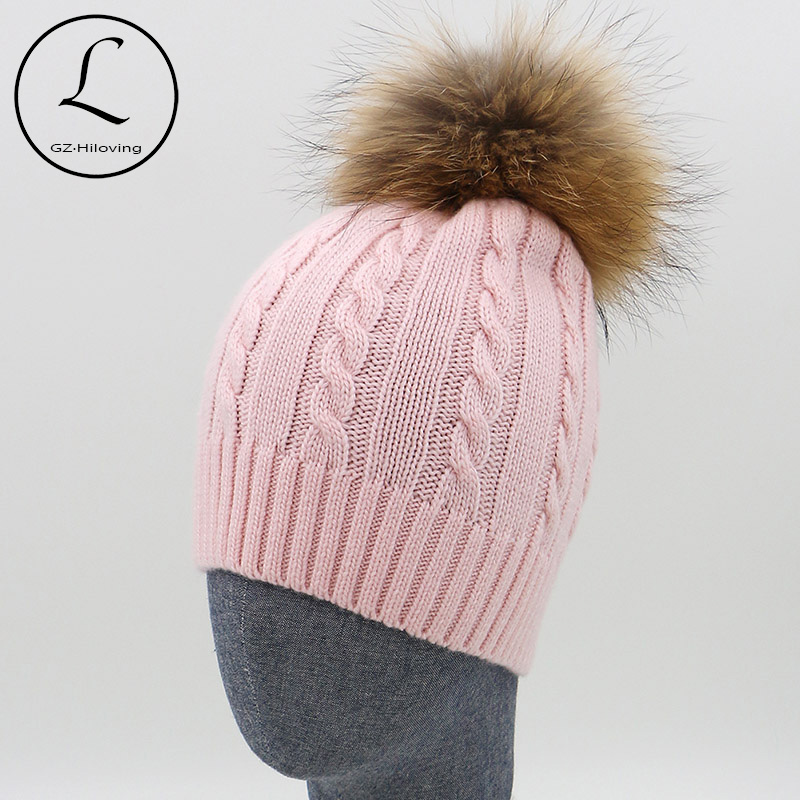 100% Wool Knitted Hats Fashion Women's Pink Beanies Cap Real Fur Pom Pom Autumn Winter Hat Man And Woman Girl Gorros 16523H1 the new children s cubs hat qiu dong with cartoon animals knitting wool cap and pile