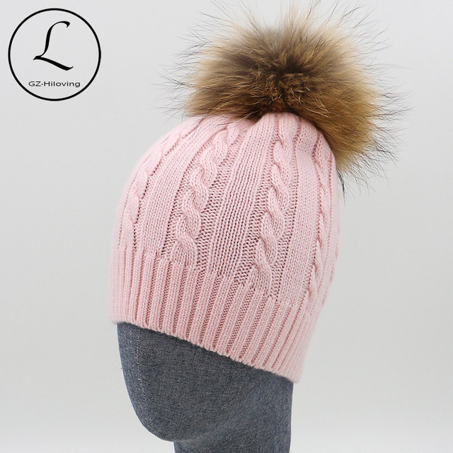 5f62e7d9b 100% Wool Knitted Hats Fashion Women's Pink Beanies Cap Real Fur Pom Pom  Autumn Winter Hat Man And Woman Girl Gorros 16523H1