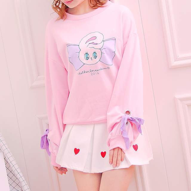 Kawaii Kelinci Kartun Kapas Hooded Hoodies Korea Remaja Lucu Manis