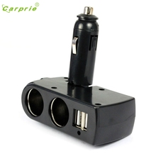 CARPRIE Hot Selling car-charger car-styling New 2 USB Charger Supply + Double Sockets Car Cigarette Lighter Extender Splitter