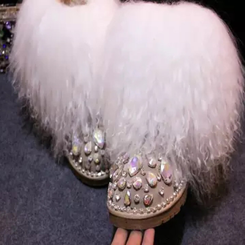 Chaud laine fourrure gland couvert femmes strass embelli bottes de neige en daim cuir dames plat hiver mouton cheveux Med veau bottes