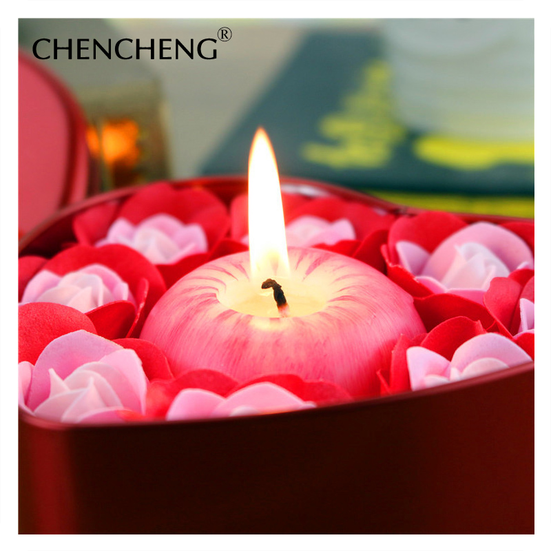 Flor Rosa artificial con Apple Vela decorativa Jabones flor boda Navidad regalo decoración de boda chencheng