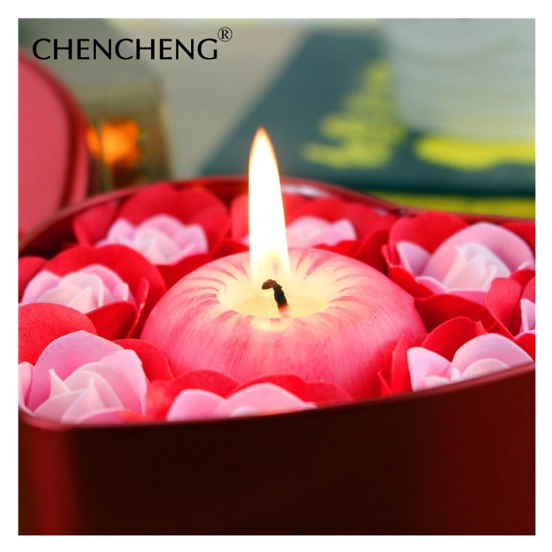 Künstliche Blume Rose Mit Apple Kerze Dekorative Seife blume Box Hochzeit Weihnachtsgeschenk hochzeit blume Dekoration CHENCHENG