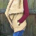Женщины Нерегулярные Кардиган Теплый Жилет Без Рукавов Верхняя Одежда Жилет Жилет Куртка