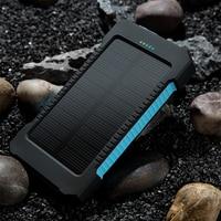 HOT 10000mAh Portable Dual USB Compact Waterproof Powerful LED Light Solar Power Bank External Battery Charger