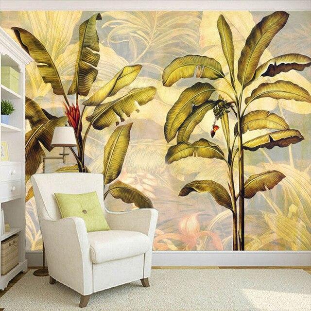 Custom Photo Wallpaper Southeast Asian Style Banana Leaves Modern ...