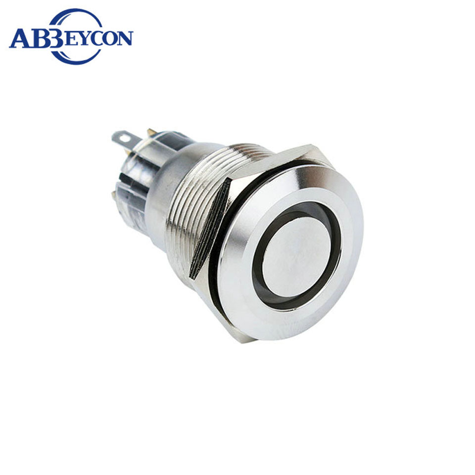Abbeycon 30mm Flat Head Stainless Steel Metal Waterproof Pin Dc 24v Push Button Selflock Switch Led Light Momentary Latching 22mm 12v Rgb Illuminated Ring 5pin Shell Cap