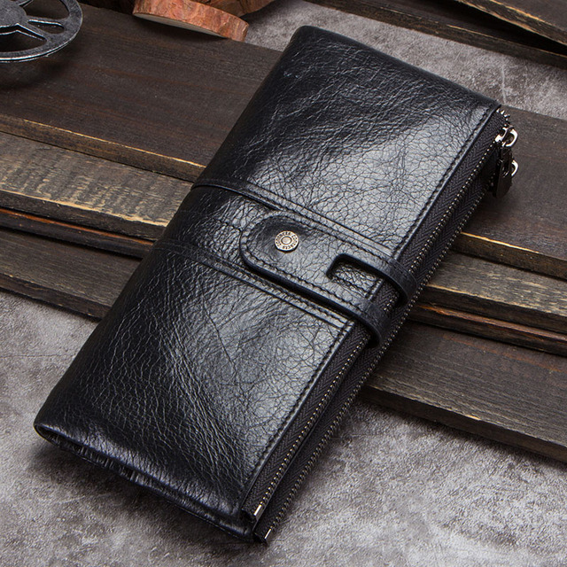 CONTACT'S men clutch hot sale genuine leather long wallet male coin purse zipper money bag for iphone8 portemonnee men's walet 4