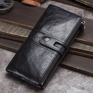 Image 5 - CONTACTS hommes pochette offre spéciale en cuir véritable long portefeuille mâle porte monnaie fermeture éclair sac dargent pour iphone8 portemonnee hommes walet