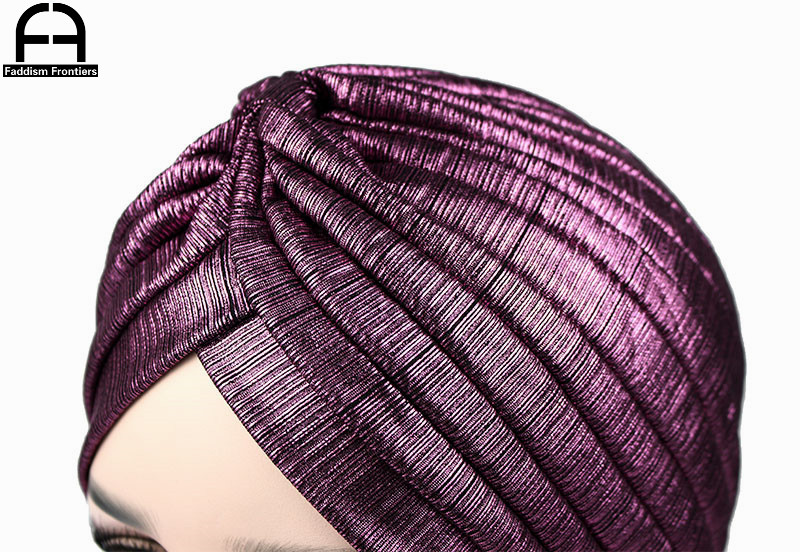 Luxury Fashion Women Shiny Knitted Turban Breathable Mesh Muslim Turban Headband Turbante Hat Hair Accessories in Women 39 s Hair Accessories from Apparel Accessories