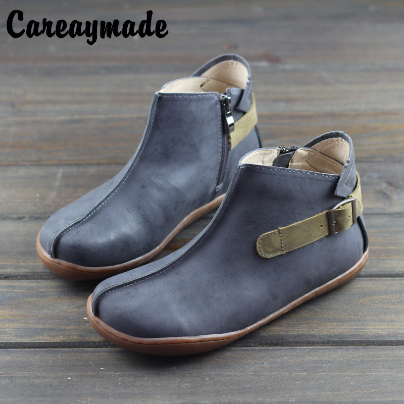 Careaymade-Hot 2019 autumu and spring new Sen female ankle boots, pure hand made flat shoes, genuine leather British bootsCareaymade-Hot 2019 autumu and spring new Sen female ankle boots, pure hand made flat shoes, genuine leather British boots