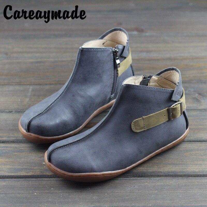 Careaymade Hot 2019 jesień i wiosna nowy Sen damskie buty do kostki, czysta ręcznie wykonane z płaskie buty, prawdziwej skóry brytyjskie buty w Buty do kostki od Buty na  Grupa 1