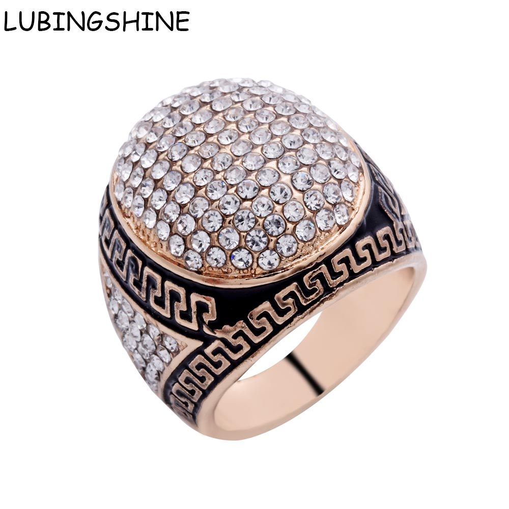 Lubingshine Bague Homme Male Vintage Big Oval Crystal Stone Engagement  Rings Steampunk Men Jewelry Antique Gold