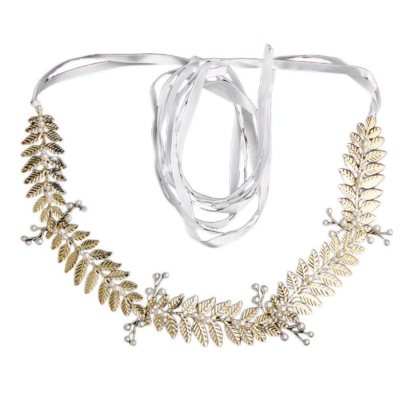 Dress Girdle Strap Handmade Artificial Pearl Gold Leaf Waistband Charming Lady Banquet Dress Decorative Belt