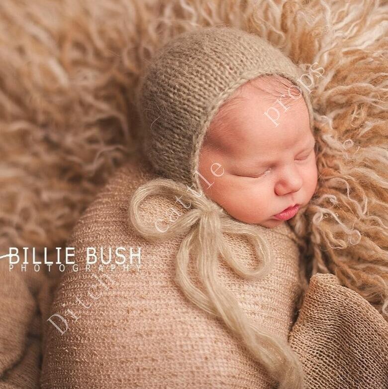 Handwerk Baby hand Knit Mohair Motorkap, Baby Fotografie Props. Fotografie prop. op Kraamcadeau 4