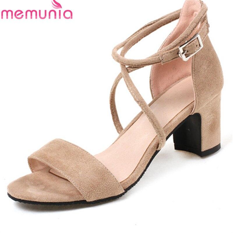 MEMUNIA 2018 new arrive women sandals summer top quality flock fashion simple buckle comfortable square heel shoes woman цена
