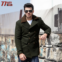 77City Killer Army Green Men Jackets New Military Air Force Thicken Real Wool Outerwear 2018 Fashion Winter Coat Male W999