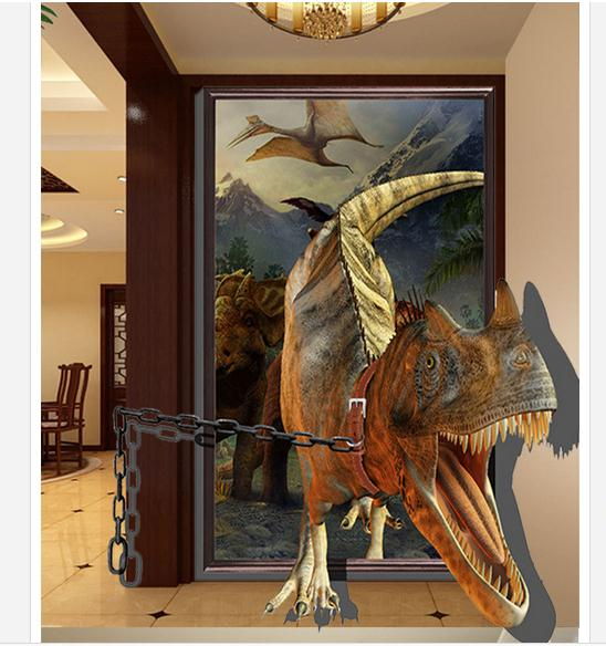 Custom 3d Wallpaper 3d Wall Murals Wallpaper 3d Stereo Porch Corridor Of Setting Wall Mural Dinosaur Wallpaper Home Decoration