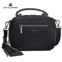 DAVIDJONES women serpentine envelope vintage crossbody bags high quality PU  shoulder bag Top-handle bag