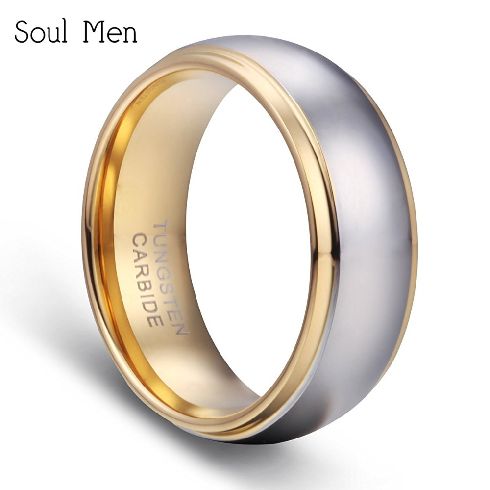Soul Men 8mm Silver With Gold Solid Dome Tungsten Carbide Ring Classic Wedding Band For Little Boy Women: Wedding Band Little Boy At Reisefeber.org