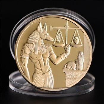 Oro plateado Egipto Protector de la muerte Anubis moneda copia monedas dios de la muerte conmemorativo regalo de colección