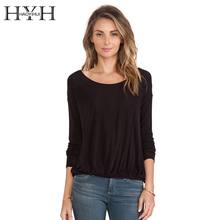 купить HYH HAOYIHUI Women Shirt Solid Black Cut Out Deep V Neck Back Long Sleeve Backless Tops Basic Casual Streetwear Female Shirt дешево