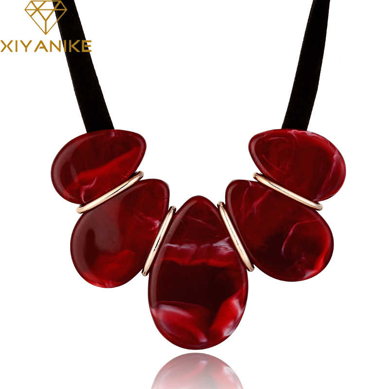 XIYANIKE 2017 New Fashion Vintage Velvet Chain Geometric Acrylic Necklaces & Pendants Statement Necklace For Women Jewelry N817