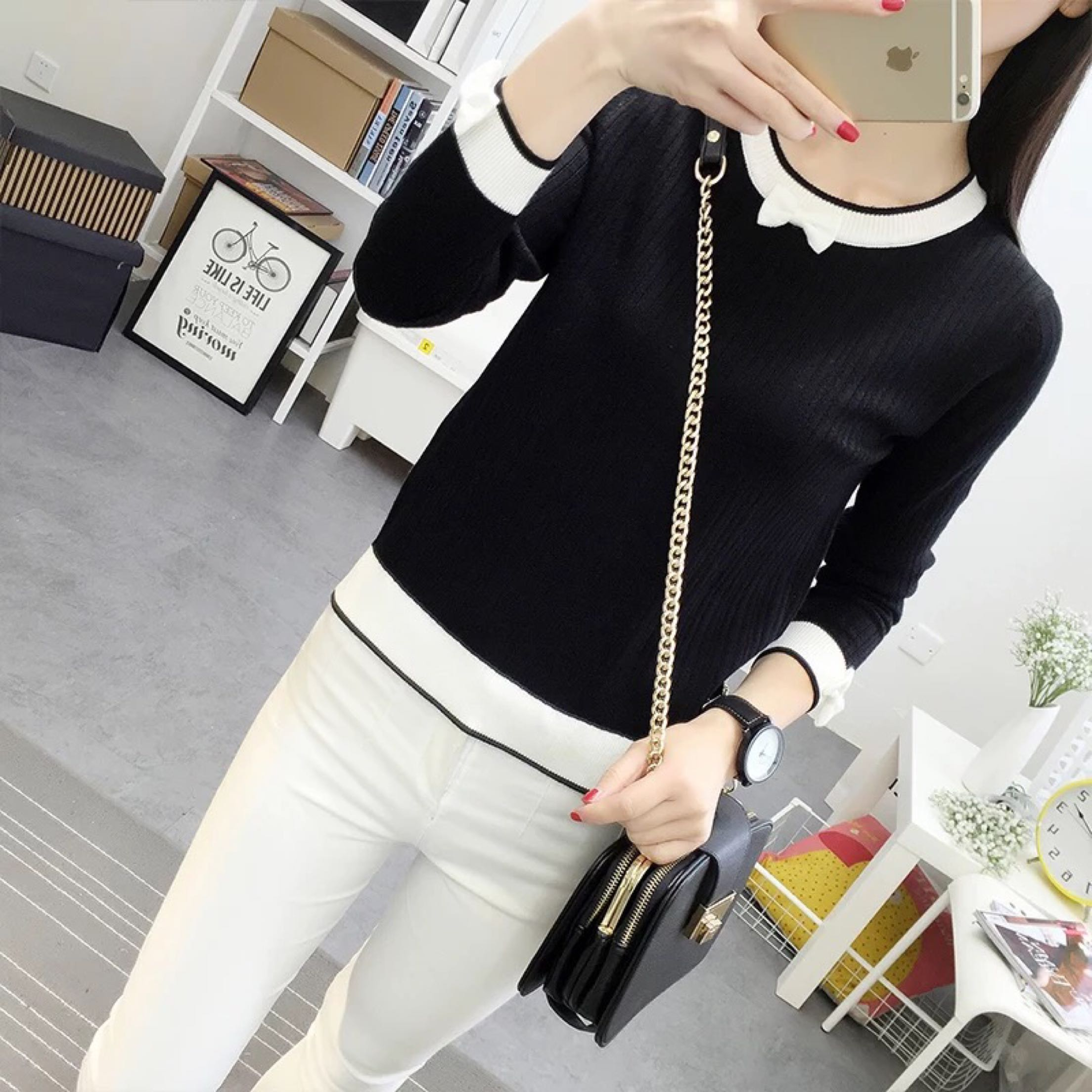 Black White Spring Autumn Women Cotton Knitted Sweater Pullovers Long Sleeve Bow Korean Fashion Basic Female Pullovers Tops Grey