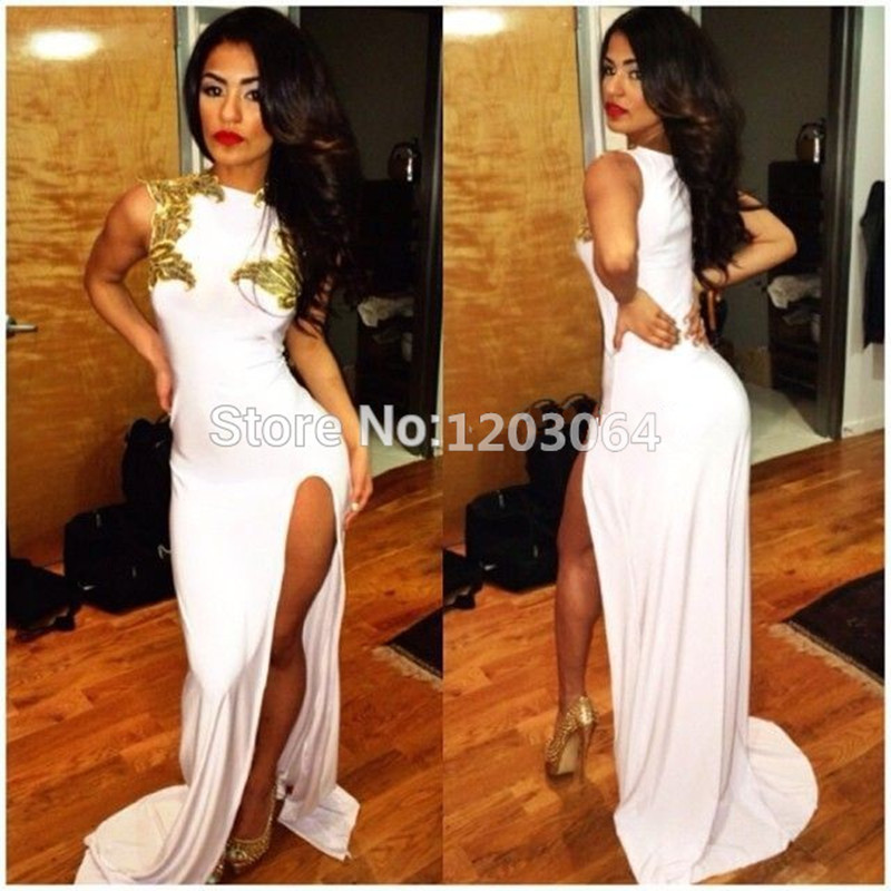 Online Get Cheap White and Gold Prom Dress with Side Slit ...