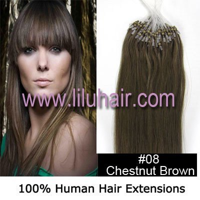 """Wholesale-18"""" Silky Straight Micro Loop/beads ring Hair Extensions #08Chestnut  Brown,0.5g/s,100s per pack"""