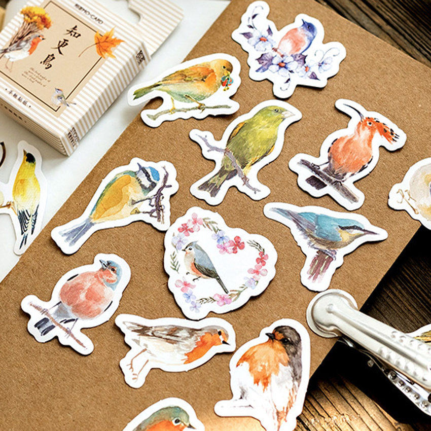 45pcs/pack Cute Robin Series Paper Card Sticky DIY Home Decoration Scrapbook Sticker Self-adhesive Stationery Gifts Label