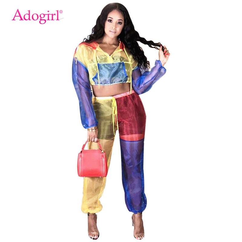 Adogirl Color Patchwork Sheer Mesh Women Tracksuit Front Zipper Long Sleeve Hooded Jacket Crop Top + Pants Two Piece Set Outfits