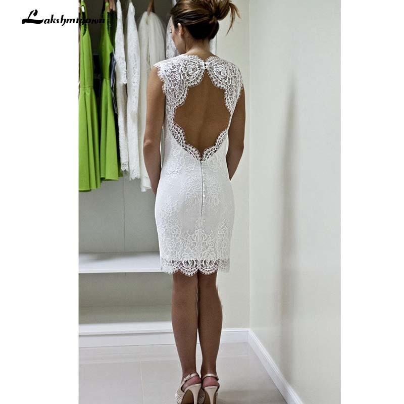 Lace Short Knee Length Wedding Dress Sheath Lace Romantic White Short Beach Bridal Gowns