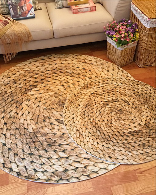 Printing Round Carpet 3D Mat Farmhouse Style Modern Minimalist Living Room  Bedroom Round Coffee Table Swivel