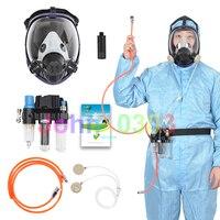 Três-Em-Uma Função de Ar Fornecido Alimentado Sistema & 6800 Cara Cheia Máscara de Gás Respirador