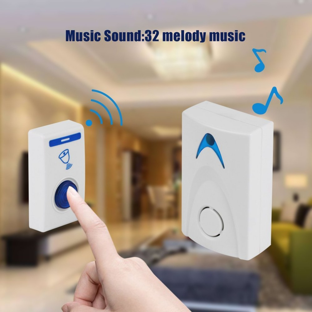 Wireless Door Bell 504D LED Chime Door Bell Doorbell & Wireles Remote Control 32 Tune Songs White Home Security Use Doorbell