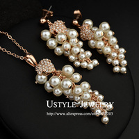 USTYLE Top Quality Grape 18K Gold Plated Noble Pearl Jewelry Earrings And Necklace Set