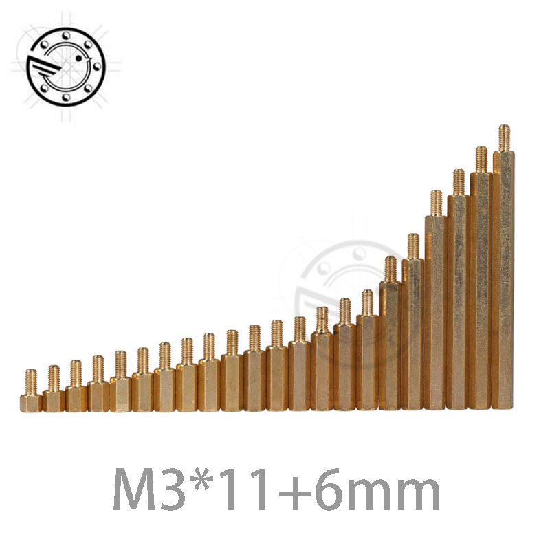 50pcs M3 Male 6mm x M3 Female 11mm Brass Standoff Spacer M3 11+6 Copper Hexagonal Stud Spacer Hollow Pillars m3*11+6mm m2 3 3 1pcs brass standoff 3mm spacer standard male female brass standoffs metric thread column high quality 1 piece sale