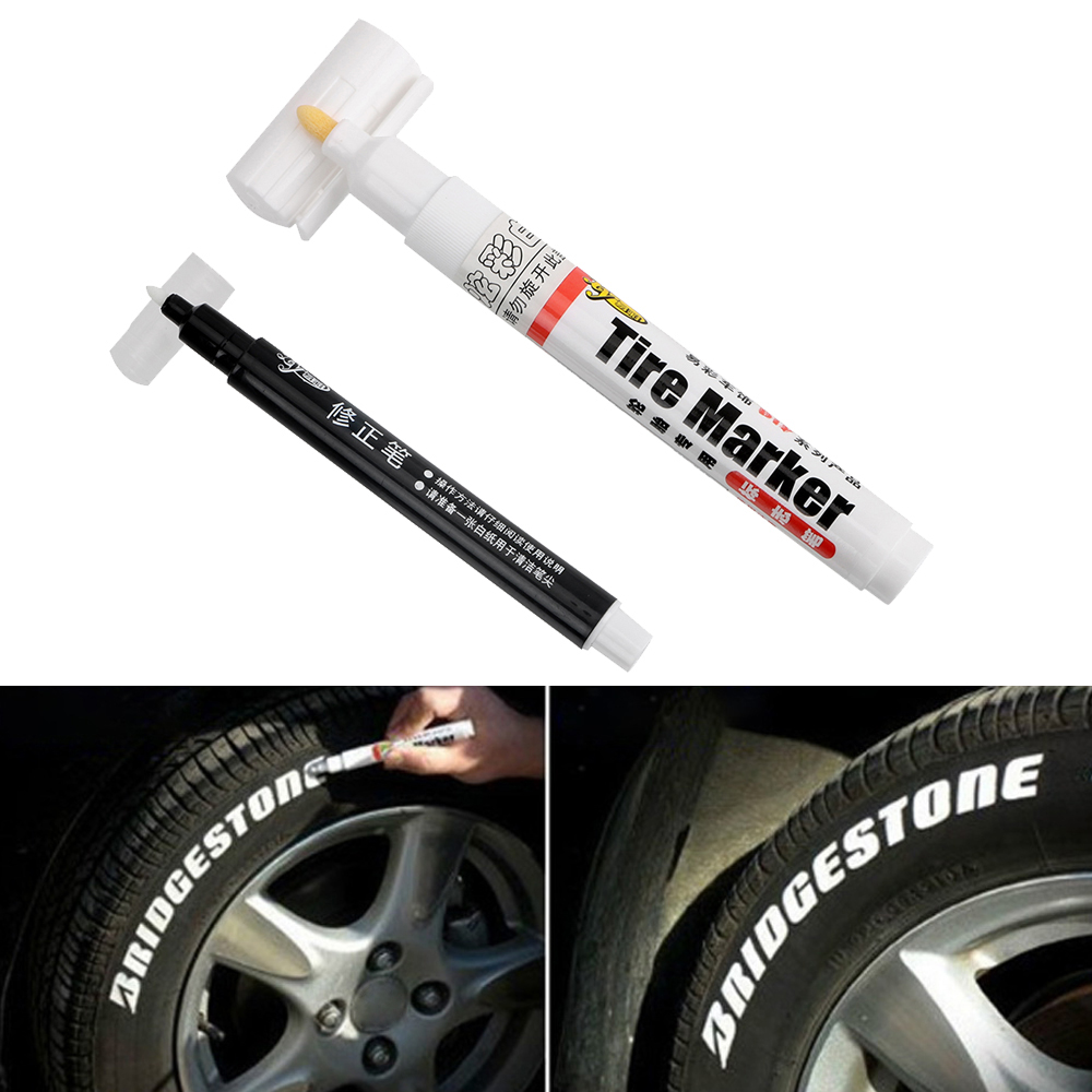 1 Set of White-Color Permanent Tire Marker Pen for Car Tyre And Motocycle Tyre