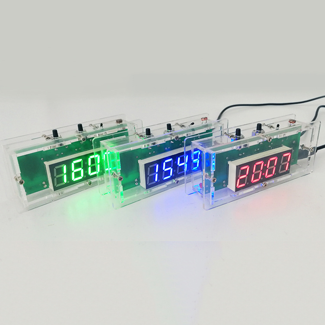 Free Shipping 4-digit Light Control Temperature Date Time Display W/ Transparent Case Compact DIY Digital LED Clock Kit 100 pcs ld 3361ag 3 digit 0 36 green 7 segment led display common cathode