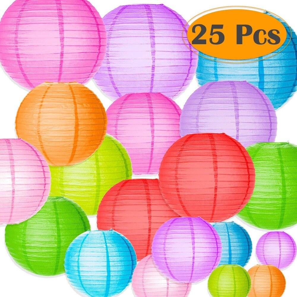 5 pieces grey color+5 pieces blue color Round Paper Lanterns baby ...