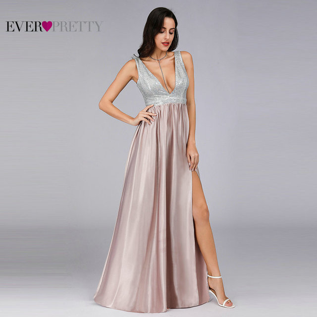 Blush Pink Prom Dresses Long Ever Pretty EP07890 Sexy Deep V-neck Backless Sparkle Sequin Formal Party Gowns Vestidos Prom 2020 2