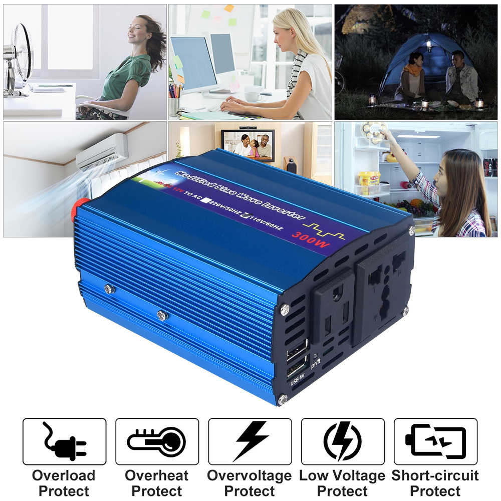 300W Max Solar Power Inverter 300w Rated Power DC12 V To AC 220 Digital Display Modified Sine Wave Car Charge Converter