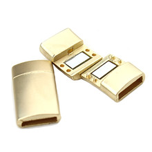 LOULEUR 5pcs/lot Gold Color Stainless Steel Plain Magnetic Lock Clasp For Leather Bracelets DIY Jewelry Findings High Quality