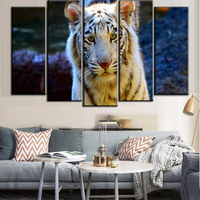 Free Shipping 5 Pieces Canvas Wall Art High Quality White Tiger Painting On Canvas Bright Tiger